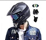 SYANO Nero Opaco Moto Casco Cross Country D. O. T Certificazione, Casco di Sicurezza Stereo Traspirante Include Occhiali/Guanti/Maschera, per downhill, quad, enduro, moto, ATV, (M)