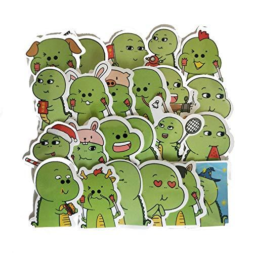 CHENX Dibujos Animados Cute Hand Account Green Little Dinosaur Emoji Bag Notebook Water Cup Graffiti Pegatinas de Juguete para niños 23 Piezas