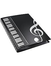 MOREYES Carpeta de música Canción Soporte de papel transparente de almacenamiento para tamaño A4 papel con 40 bolsillos, clef
