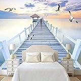 Lago puente de madera celosía papel pintado de pared no tejido sala de estar dormitorio oficina pasillo deco Pared Pintado Papel tapiz 3D Decoración dormitorio Fotomural sala sofá mural-400cm×280cm