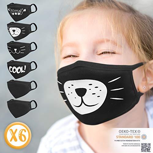 Jago® Kinder Stoffmaske - Waschbar, 6er Set (mit/ohne Abdruck), Schwarz, Baumwolle, Wiederverwendbar, für Jungen und Mädchen, Doppellagig - Behelfs, Mundschutz, Nasenschutz