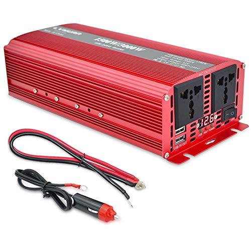 LYEJFF Inversor de alimentación Onda sinusoidal Pura - 1500W / 3000W USB 12V / 24V a 110V / 220V Converter-2AC Outlets Coche Inverter