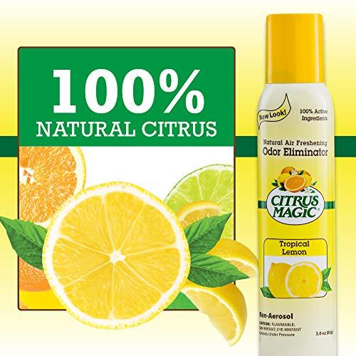 Citrus Magic Natural Odor Eliminating Air Freshener Spray Tropical Lemon, Pack of 3, 3.0-Ounces Each