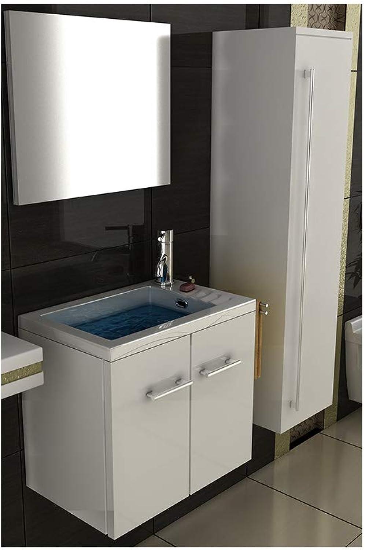 Badmbel Set mit Waschbecken aus Mineralguss und Unterschrank mit Softclose-Funktion wei   50 cm Breite