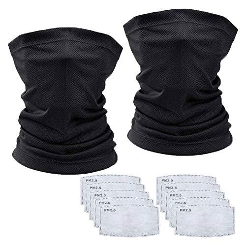2Pcs Neck Gaiter Scarf Headwear Headband Balaclava&10Pcs Carbon Filter