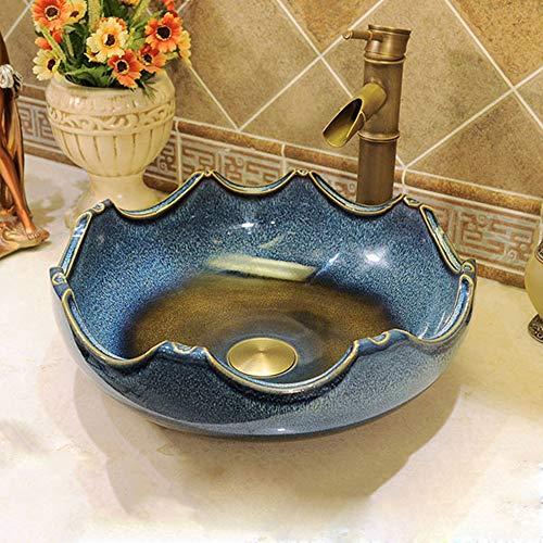 MICOKY Waschbecken Keramik Waschtisch über Theke Becken chinesischen Retro kreative Hotel Bad mediterrane Kunst Becken ohne Wasserhahn 40 * 15