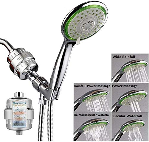 Filtered Shower Head Combo, Includes 15 Stage Shower Filter Head, High Pressure Handheld Spray Showerhead, Hose, Shower Arm Mount Holder, for Hard Well Water Chlorine, Chrome