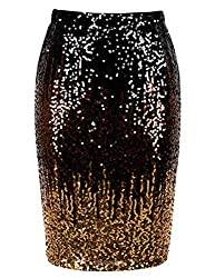 Black/Coffee/Gold Sequin High Waist Sparkle Pencil Skirt