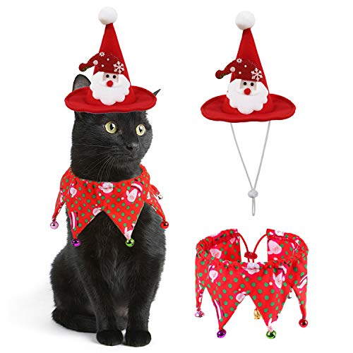 RYPET Cat Christmas Costume - Christmas Cat Collar with Bells and Santa Claus Hat Cat Costume Suit for Cats and Small Dogs