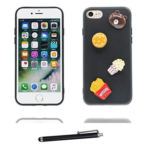 EarthNanLiuPowerTu iPhone 6s Carcasa, Ultra Delgado y Flexible TPU a Prueba de Golpes y 1x lápiz táctil Case Suave Dibujos Animados en 3D Funda para iPhone 6/6S 4.7' - Palomitas de maiz Oso Galletas