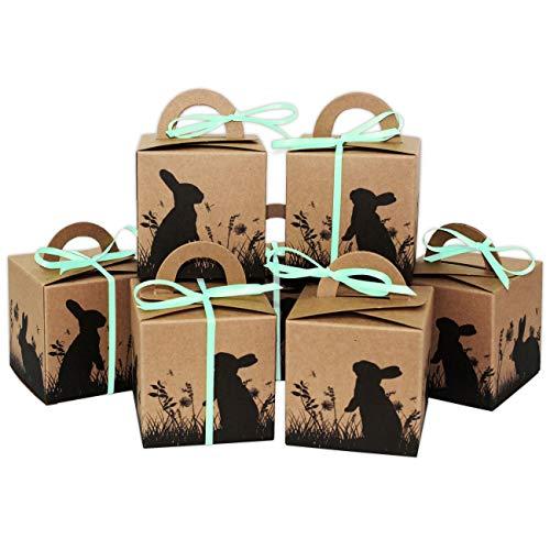 Papierdrachen 10 bedruckte Osterhasen Kisten - Geschenkboxen in braun zu Ostern - stilvolle Geschenkverpackung - Design 15 - Osterdeko 2020