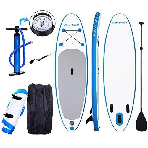 YUEBO 305cm Aufblasbares SUP Stand-up Paddel Board 15cm Dickes, iSUP Paddle Board mit Einzelhub-Pumpe + 3-TLG. verstellbares Paddle + Grosse Tragetasche
