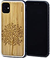 Wood Case for iPhone 11 with Shock Absorbing Anti-Slip TPU Bumper and Tree Engraved Bamboo Backside GOWOOD Canadian