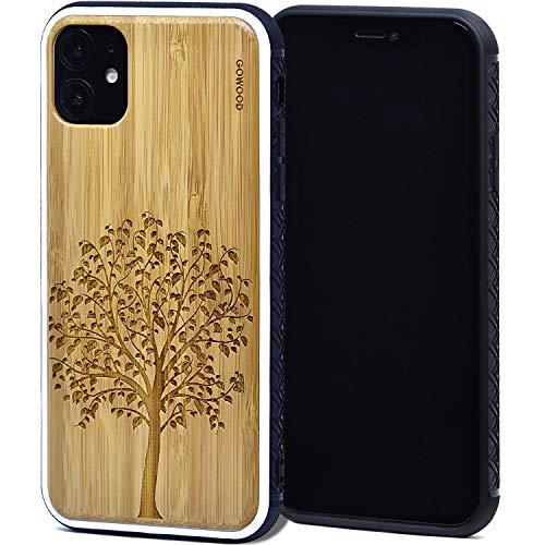 GOWOOD Holz Handyhülle für iPhone 11 | Echter Bambus Baum Gravur Holz Rückwand mit Polycarbonat-Stoßschutz und stoßdämpfender Gummibeschichtung für optimalen Schutz