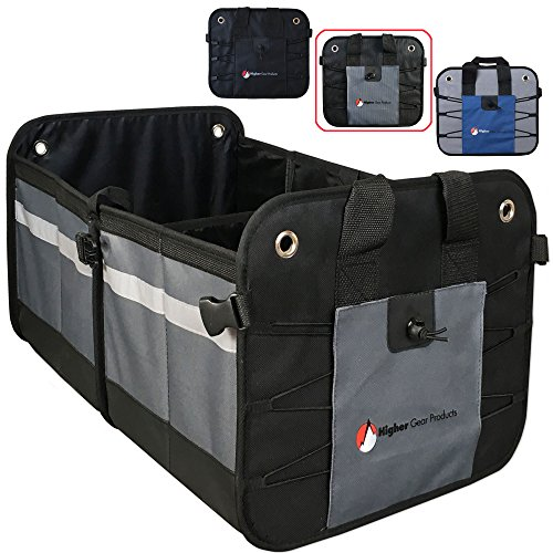 Truck Durable Materials Feezen Car Trunk Organizer for SUV With Extremely Strong Non-Slip Bottom Strips /& Black Straps to Prevent Sliding Auto Waterproof Bottom Durable Collapsible Cargo Storage