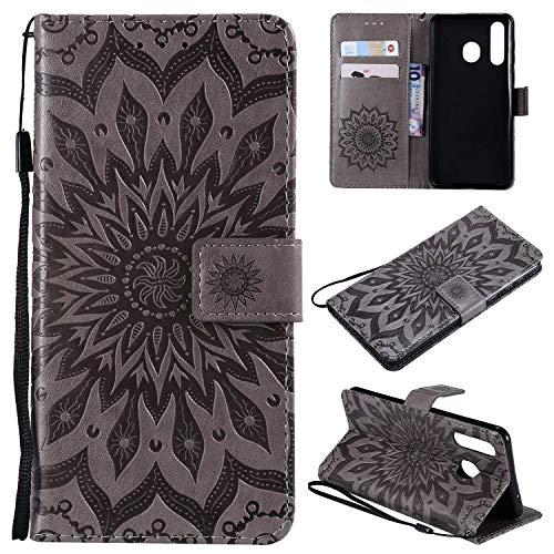 KKEIKO Hülle für Galaxy A8S, PU Leder Brieftasche Schutzhülle Klapphülle, Sun Blumen Design Stoßfest HandyHülle für Samsung Galaxy A8S - Grau
