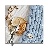 Osmykqe Manteles Individuales Cappuccino Croissant Azul Pastel Gigante Gigante Juego de 6 manteles Individuales para Mesa Manteles Resistentes al Calor