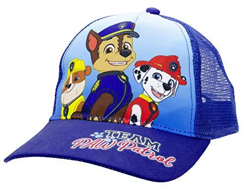 Paw Patrol - Team Chase Marshall Rubble Kinder Cap Basecap Baseballkappe Kappe verstellbar Blau