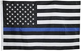 Best Thin Blue Line Flag - 3X5 Foot with Embroidered Stars and Sewn Stripes - Black White and Blue American Police Flag Honoring Law Enforcement Officers Review