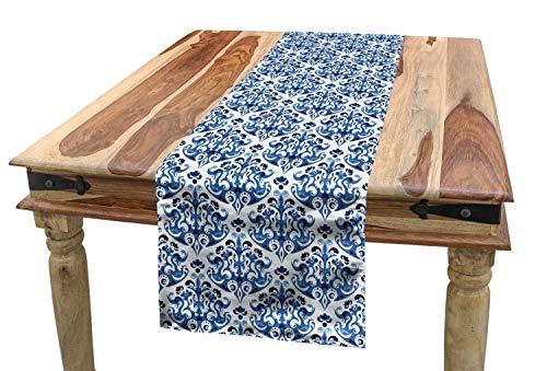 ABAKUHAUS Índigo Camino de Mesa, Diseño de Estilo Victoriano Indigo, Decorativo para el Comedor o Sala de Estar Fácil de Limpiar, 40 x 180 cm, Gasolina Azul Turquesa