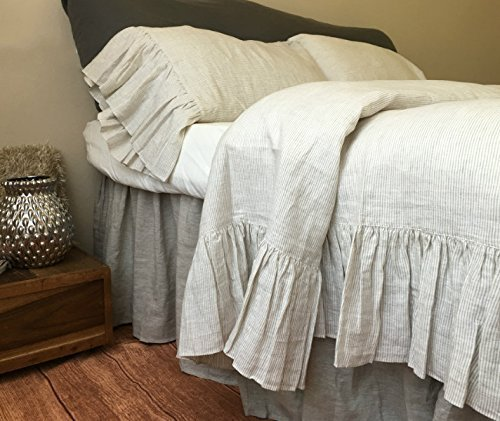 Natural Linen Ticking Striped Duvet Cover with Mermaid Long Ruffles, Linen Ruffle Bedding, Ruffle Duvet Cover, Shabby Chic Bedding, Luxury Bedding Collections, FREE SHIPPING