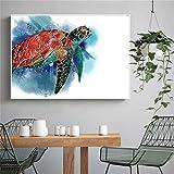 Pintura De Pintura De Tortuga De Mar Impresión Ocean Turtle Pósteres Imágenes De Arte De Pared para Baño Decoración De Niños Detalle Decoración Lienzo Impresión-30X45 Cm Sin Marco