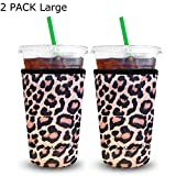 XccMe Reusable Iced Coffee Sleeves 2 Pack Neoprene Insulator Cup Cover for Cold Drinks,Beverages Holder,Ideal for Dunkin Donuts, Starbucks Coffee, McDonalds (Large Leopard 32 oz)