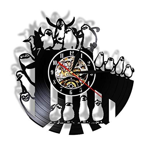 KDBWYC Los pingüinos de Dibujos Animados de Madagascar Reloj de Pared con Disco de Vinilo Movimiento silencioso Guardería Bebé Dormitorio Reloj Iluminación LED Reloj de Pared sin LED
