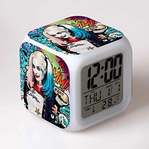 fdgdfgd Dibujos Animados Digitales del Reloj del Payaso del Reloj de Alarma del Juguete de 3D LED con el Reloj de Alarma de la Fecha del termómetro