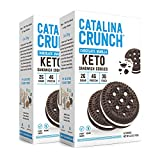 Catalina Crunch Chocolate Vanilla Keto Sandwich Cookies 2 Pack, (6.8 oz Boxes)   Keto Snacks   Low Carb, Low Sugar   Vegan Cookies, Plant Protein Cookies   Keto Friendly, Keto Dessert