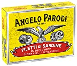 Angelo Parodi Sardines Boneless and Skinless Fillets in Pure Olive Oil | 10 Pack | Imported from Italy | Wild Caught and Hand Selected | Premium All Natural | Gourmet Fillets in 3.70 oz Can (105 Gram)