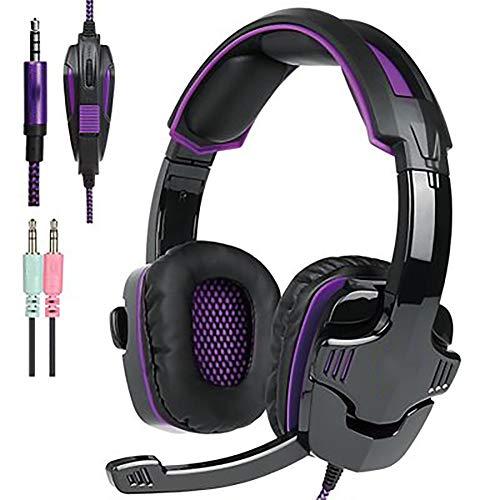 GBHN Gaming Headset für PS4 / Xbox One / Mac / PC Controller mit Mikrofon, LED-Licht, professionelle Bässe für Kopfhörer und ausgezeichnete Geräuschklarheit
