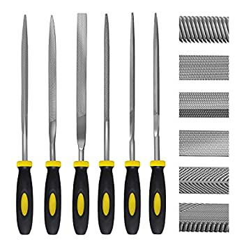 Needle File Set 6 Pieces Hand Metal Files Hardened Alloy Strength Steel Set Includes Flat Flat Warding Square Triangular Round and Half-Round File