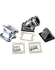 GOOFIT Admision Aire Tubo 32mm del Guarnizioni Kit Carburador para 2 Tiempos DIO 50 ZX SE50 SK50 SA50 Scooter Pit Bike ATV Quad Plata