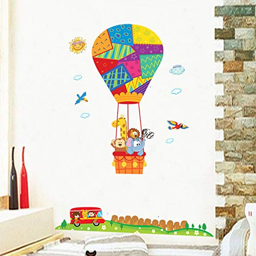 Cartoon dieren kleurrijke heteluchtballon muursticker auto vogel weide hek kinderkamer hal wandtattoo stickers deur sticker 60X90cm