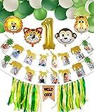 Bebé 1er Cumpleaños Decoraciones, Wild One Trona Banner, Banner de Fotos de Animales, Número 1 Globo, 44 piezas Globos Temáticos de Animales, Selva Fiesta de Cumpleaños Decoracion para Niño