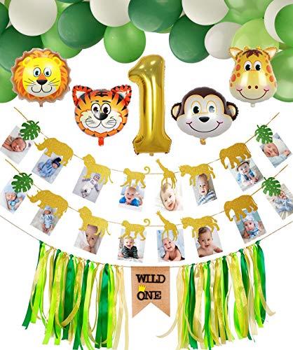 PIXHOTUL Bebé 1er Cumpleaños Decoraciones, Wild One Trona Banner, Banner de Fotos de Animales, Número 1 Globo, 44 Piezas Globos Temáticos de Animales, Selva Fiesta de Cumpleaños Decoracion para Niño
