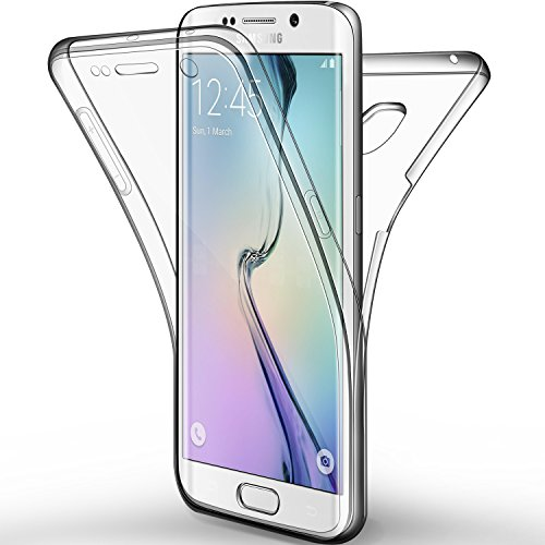 Leathlux Coque en silicone pleine protection TPU pour Samsung Galaxy S6 Edge Transparent