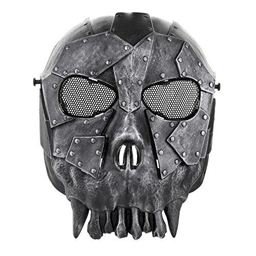 Flexzion Máscara Táctica Protectora de Airsoft y Paintball, Protección Facial Completa de Seguridad con Malla para los Ojos, Máscara para Halloween, Fiestas, Cosplay, Actividades al Aire Libre (Negro)