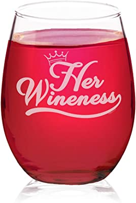 Veracco Her Wineness Funny Birthday Gift Bachelor Party Favors Stemless Wine Glass (Clear, Glass)