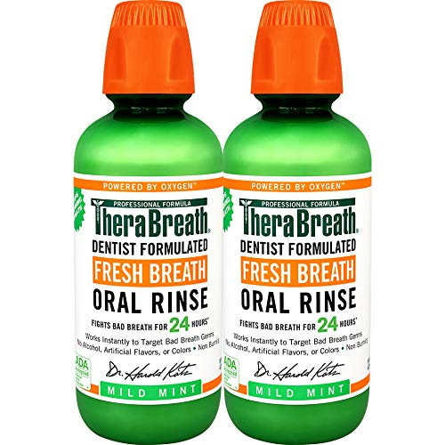 TheraBreath Fresh Breath Oral Rinse, Mild Mint, 16 Ounce Bottle (Pack...