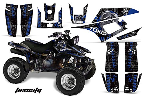 AMR Racing ATV Graphics kit Sticker Decal Compatible with Yamaha Warrior 350 All Years - Toxicity Blue Black