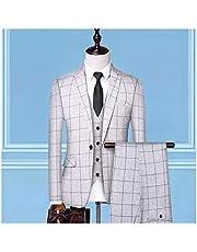 (ジャケット+ベスト+パンツ)新しいハイエンドメンズのウェディングドレス古典的なイギリスの格子縞のビジネスカジュアルスーツのフォーマルスリーピースのスーツ メンズスーツスリムフィット
