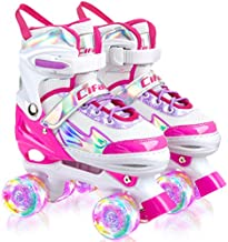 Roller Skates for Girls Boys Kids, Black Pink Purple 4 Sizes Adjustable Kids Roller Skates with Light up Wheels and Shining Upper Design, Size 10C to 13C to 6Y in Kids Shoes