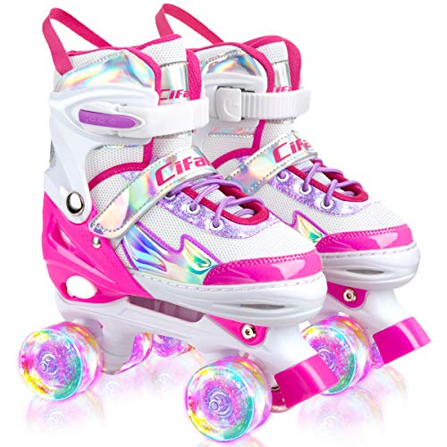 Roller Skates for Girls Boys Kids Black Pink Purple 4 Sizes Adjustable Kids Roller Skates with Light up Wheels and Shining Upper Design Size 10C to 13C to 6Y in Kids Shoes