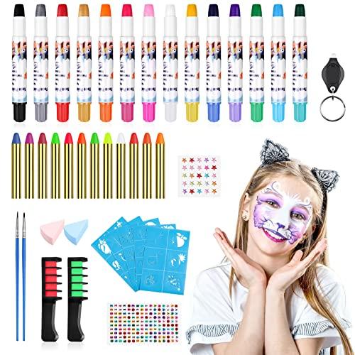 Cremify Pinturas Cara para Niños-con Tiza para el Cabello, Pincel, Crayones de Pintura Facial, Luz Ultravioleta, Bolsa de Cosméticos de Halloween de Navidad, Crayones para el Cuerpo y la Cara