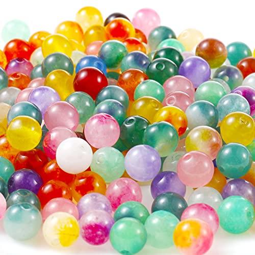 FANTESI 200 piedras semipreciosas, perlas naturales, piedras preciosas, perlas curativas, piedras semipreciosas, perlas para manualidades, perlas de 8 mm