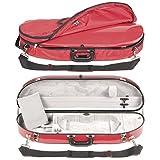 Bobelock 1047FV Red Fiberglass 4/4 Violin Case with Silver Velvet Interior and Protective Bag