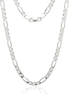 Sterling Silver Italian 4.5mm Figarucci Figaro Mariner Anchor Link Solid .925 Necklace Chain 16
