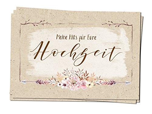 50 Musikwunschkarten A7 Musikwunsch Hochzeit Hochzeitsfeier DJ Karte 50er Set Country Flowers 10,5 x 7,4 cm rustikal